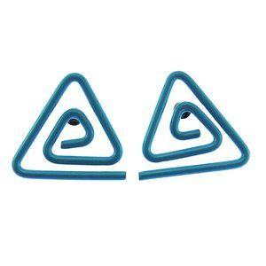 Vintage Blue Enamel Triangle Earrings